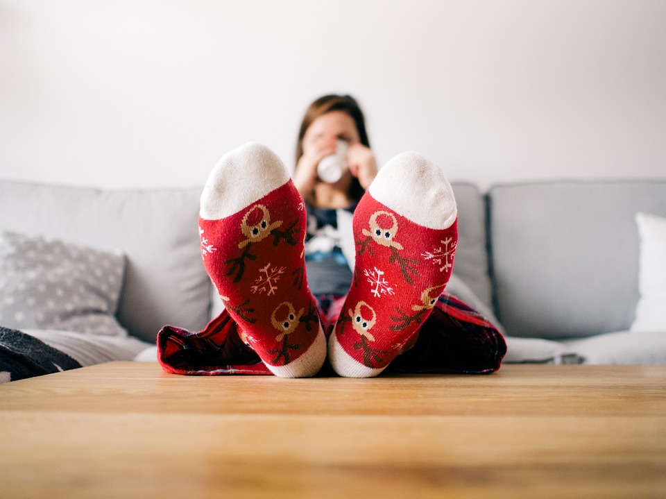 feet, socks, cozy, table, walking pain