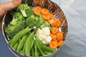 broccoli, peas, beans, carrot, steamed, high choleserol