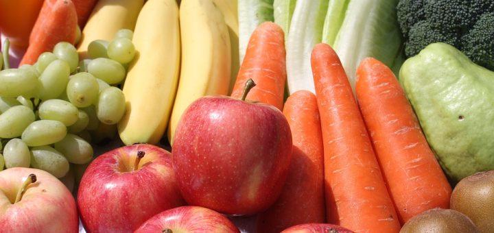 fruits, veggies, vegetable, carrot, apple, banana, grapes, lettuce