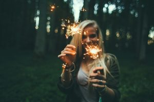 party, fireworks, sparklers, woman, girl